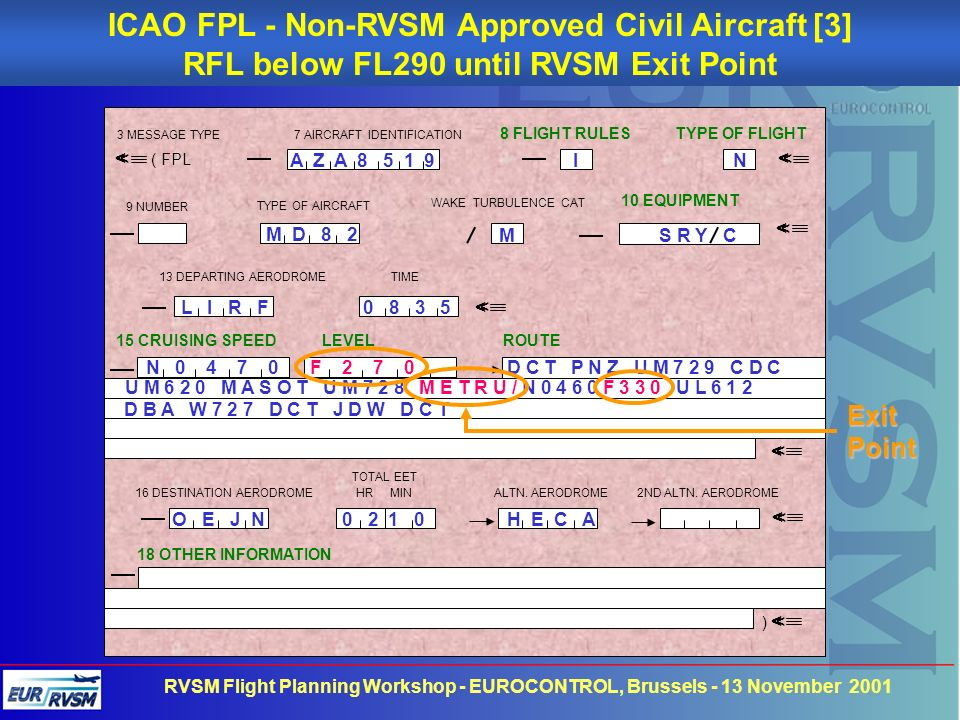 ICAO FPL - Non-RVSM Approved Civil Aircraft [3]